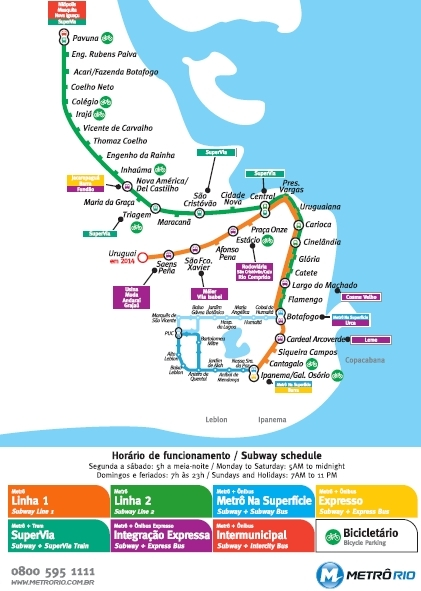 metro rio de janeiro mapa Mapa da rede de Metrô do Rio de Janeiro, RJ metro rio de janeiro mapa