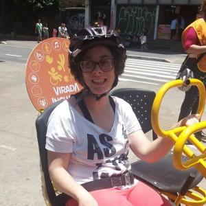 Eu na Paulista, participando do evento Bicicletada Inclusiva, dia 03/12.