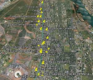 Analise_Ciclovia_AsaNorte_W5_Slide 106_Mapa_Escolas Faculdades