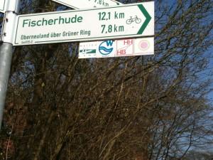 Sinalização para ciclistas, no meio urbano de Hamburgo
