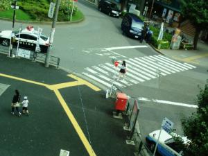 Trilha direcional e piso podotátil de alerta junto à faixa de pedestres, submetida à linha de desejo de pedestres