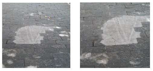 Fotos tiradas do meu celular em 13/02/2016 mostrando o remendo de cimento para tapar o desnível do piso e a imediata reação à inadequação deste reparo pelo aparecimento de rachadura na superfície recém-construída.