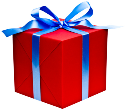 Red present with blue ribbon