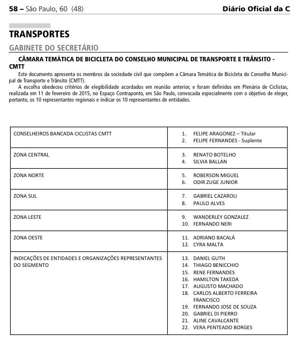 Câmara Temática de Bicicleta no CMTT -Publicado no Diário Oficial