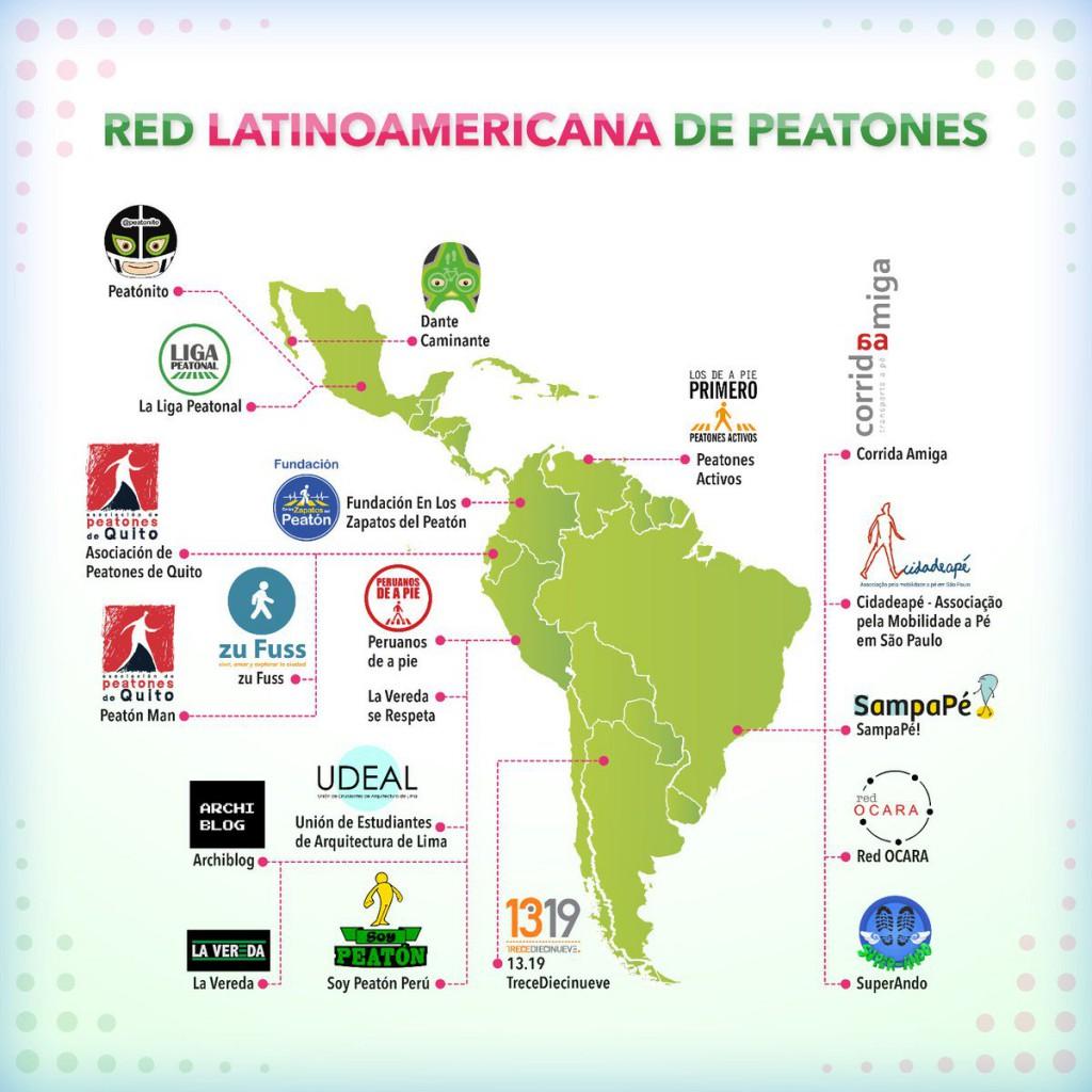 Mapa das organizações  da  Rede Latino-americana de Pedestres