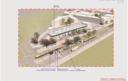 Imagens do projeto para o VLT na W3 de Brasília