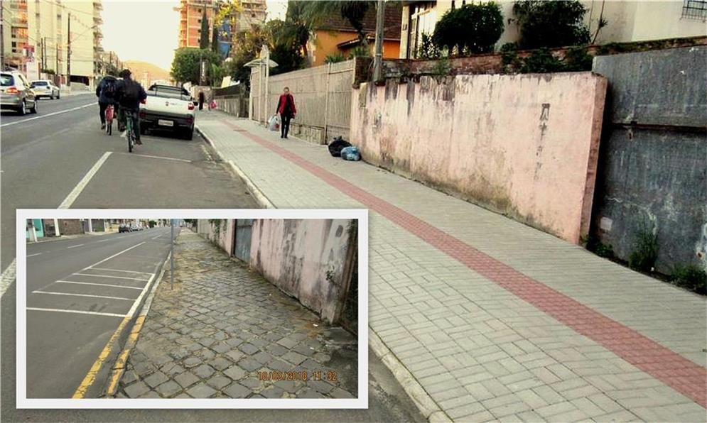 Calçada antes e depois da melhoria realizada em Po