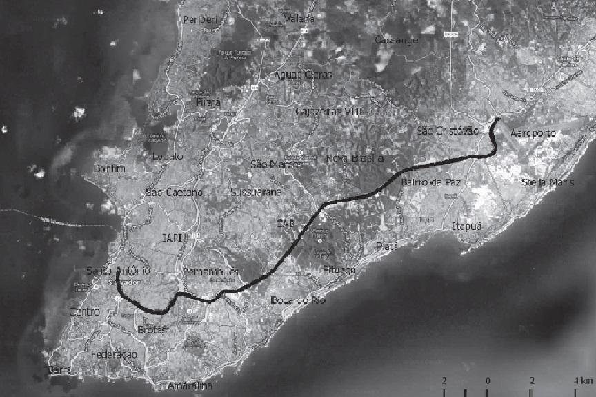 Cidade de Salvador, com a via estudada neste artig