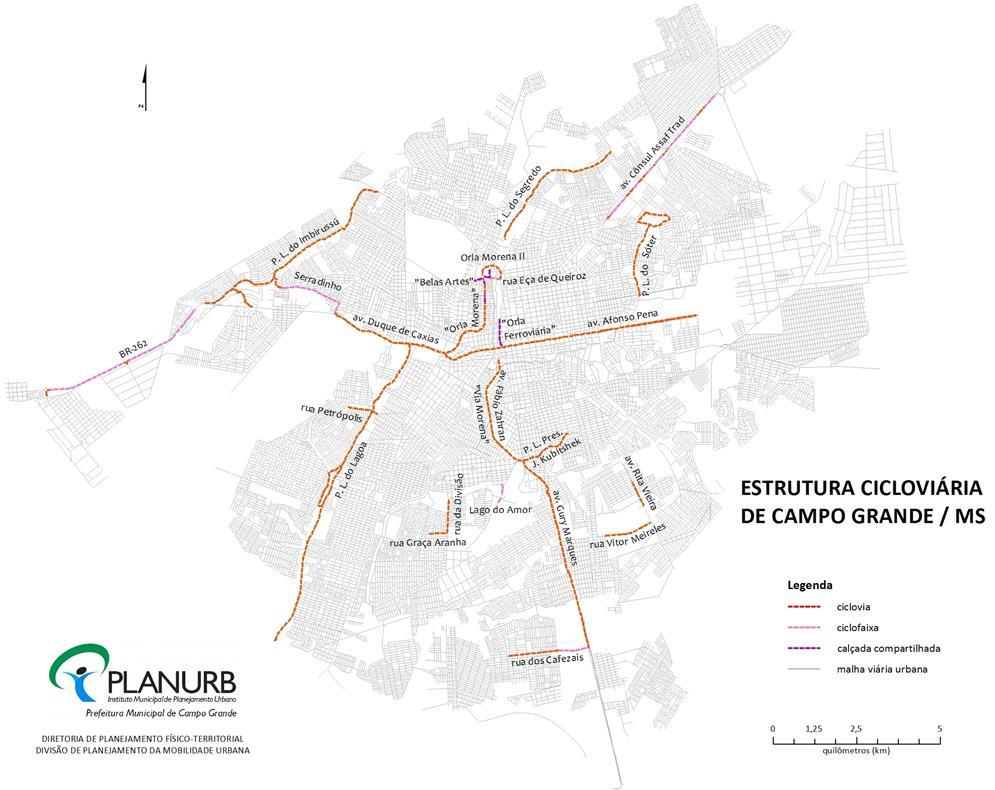 Estrutura cicloviária de Campo Grande - MS