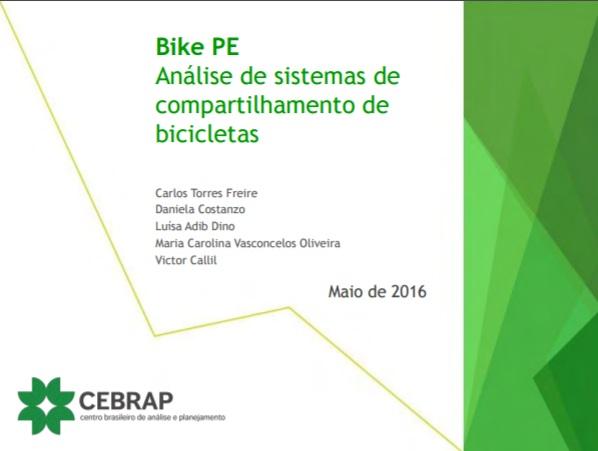 Estudo Cebrap sobre o Bike PE