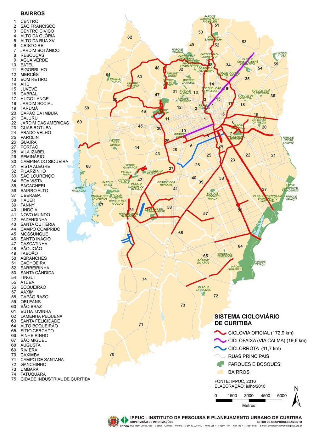 Mapa Cicloviário de Curitiba (2016)