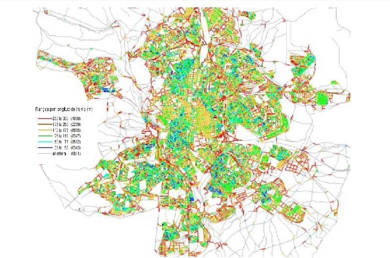 Mapa com trechos de ruas de Madri, segundo extensã