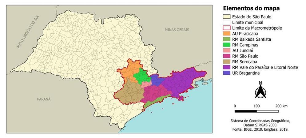 Mapa da Macrometrópole Paulista