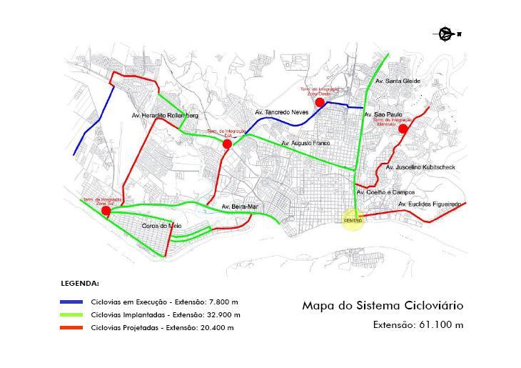 Mapa da Rede de Ciclovias de Aracaju