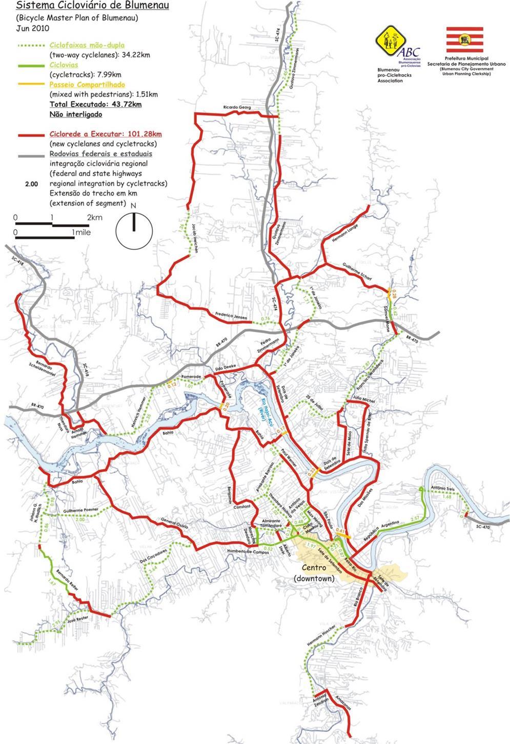Mapa da rede de Ciclovias de Blumenau, SC