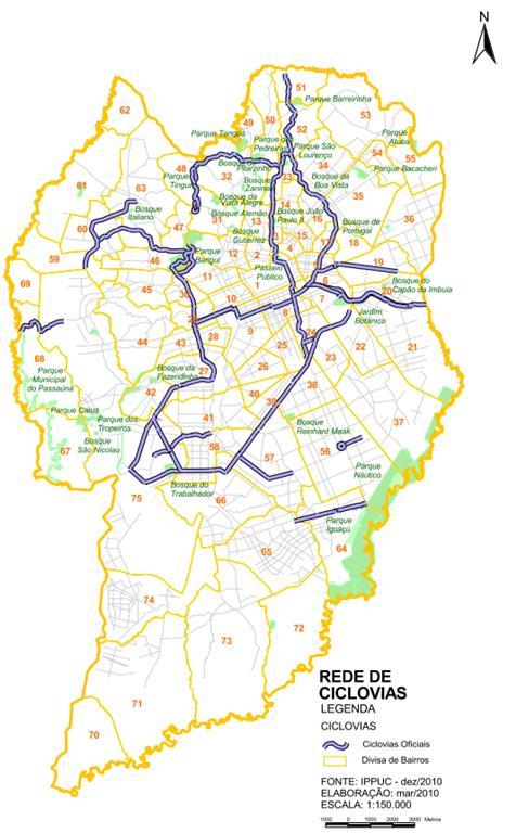 Mapa da rede de Ciclovias de Curitiba, PR