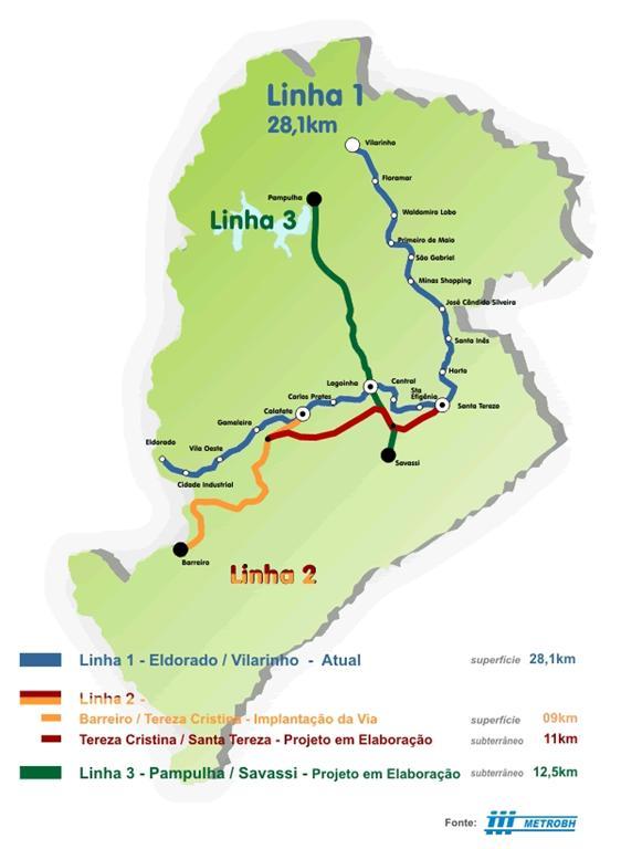 Mapa da rede de Metrô de Belo Horizonte, MG