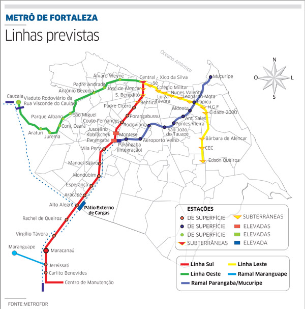 Mapa da rede de Metrô de Fortaleza, CE