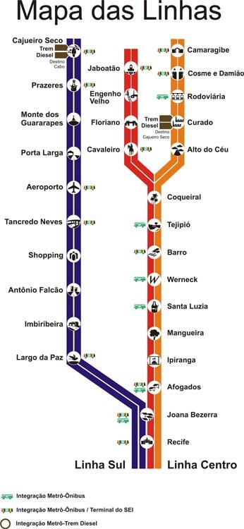 Mapa da rede de Metrô de Recife, PE