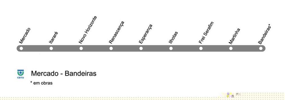 Mapa da rede de Metrô de Teresina, PI