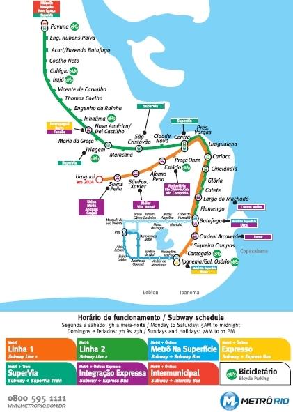 Mapa da rede de Metrô do Rio de Janeiro, RJ