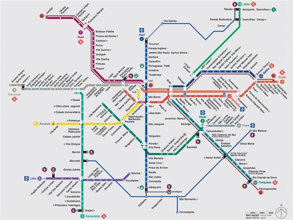 Mapa da rede de metrô e trens metropolitanos de Sã