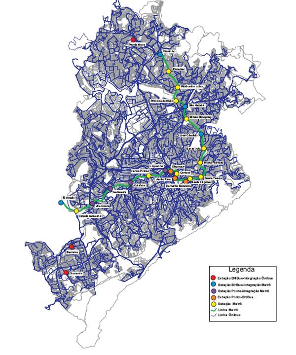 Mapa da rede de Transporte Público de BH, MG