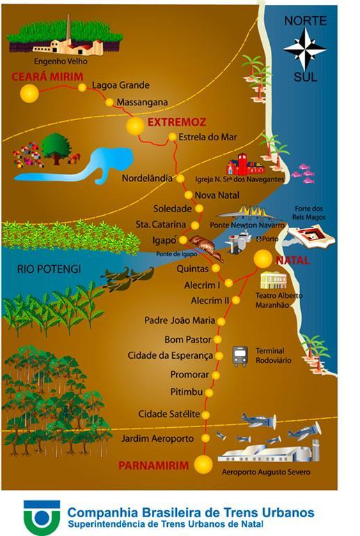 Mapa da rede de Trens de Natal, RN