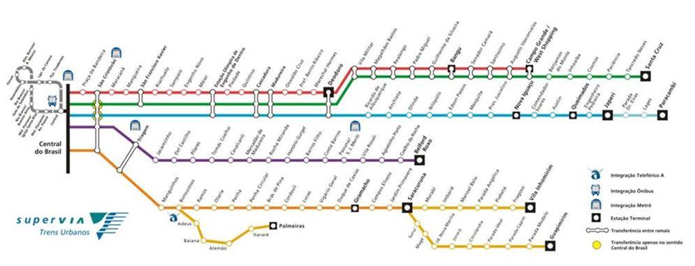 Mapa da rede de Trens do Rio de Janeiro, RJ