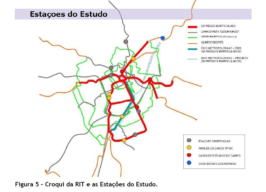 Mapa da Rede Integrada de Transporte/ RIT e locais