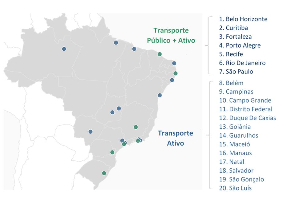 Mapa das 20 cidades pesquisadas para o estudo