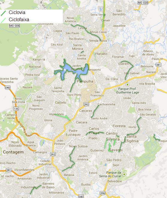 Mapa das Ciclovias de Belo Horizonte