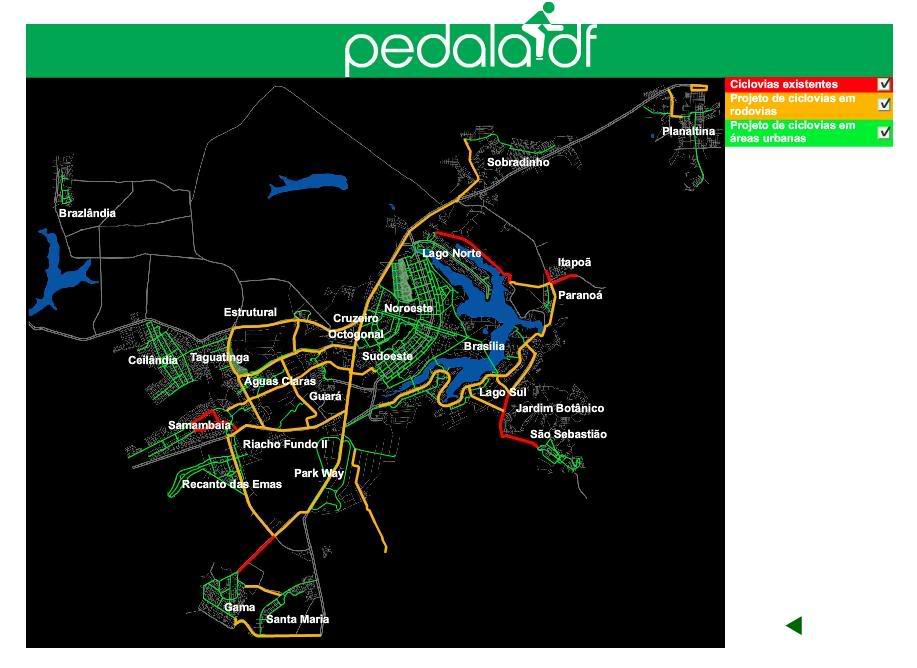 Mapa das ciclovias de Brasília