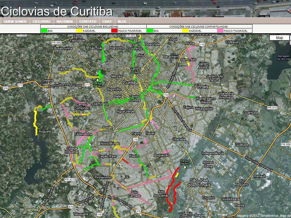 Mapa das Ciclovias de Curitiba