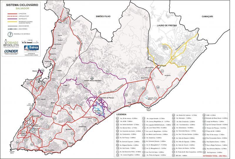 Mapa das Ciclovias de Salvador