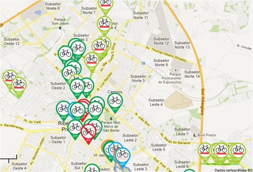 Mapa de ciclovias de Ribeirão Preto