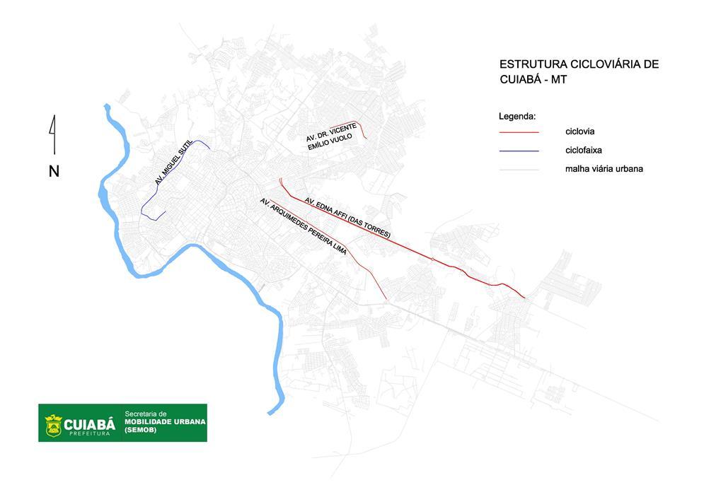 Mapa de ciclovias e ciclofaixas de Cuiabá (2017)