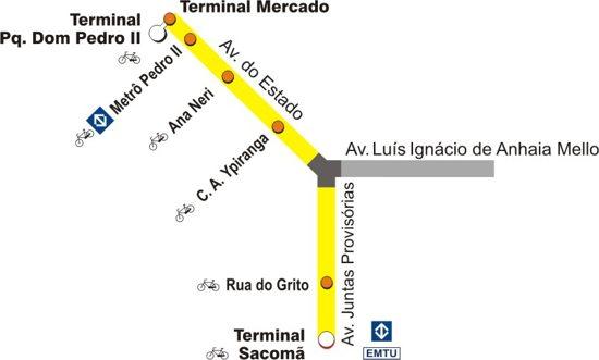 Mapa do BRT de São Paulo (Expresso Tiradentes)