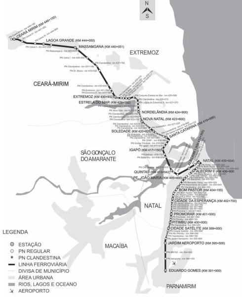 Mapa do trem de Natal