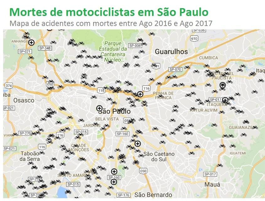 Mapa mostra mortes de motociclistas em SP