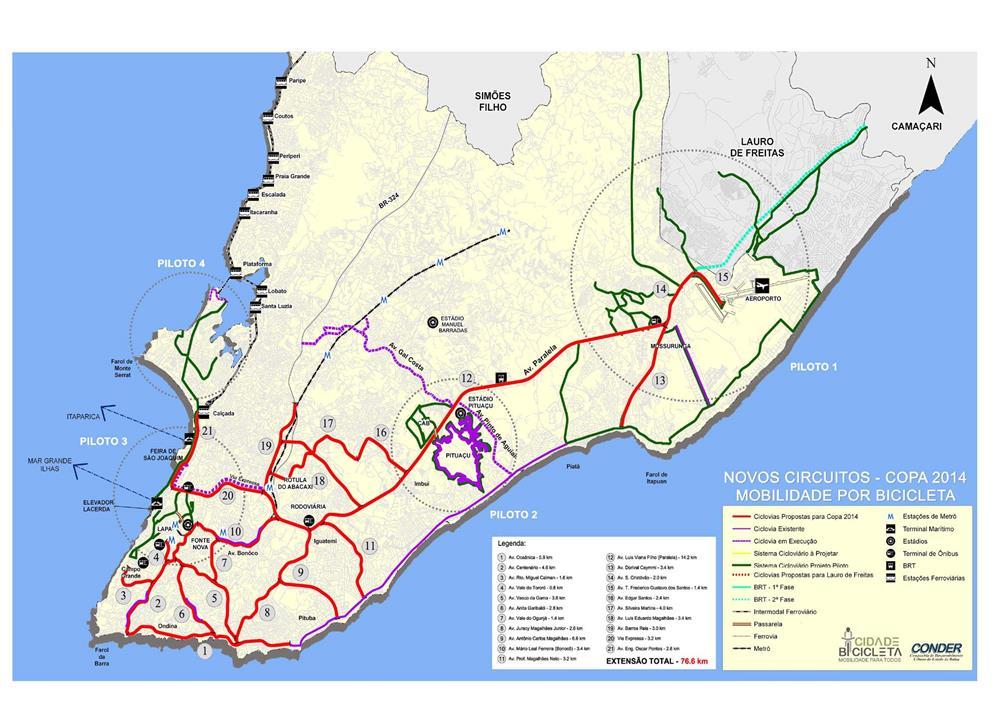 Mapa das ciclovias de Salvador-BA (2014)