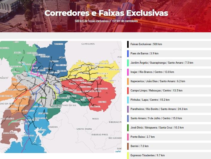 Mapa de Corredores e Faixas de Ônibus