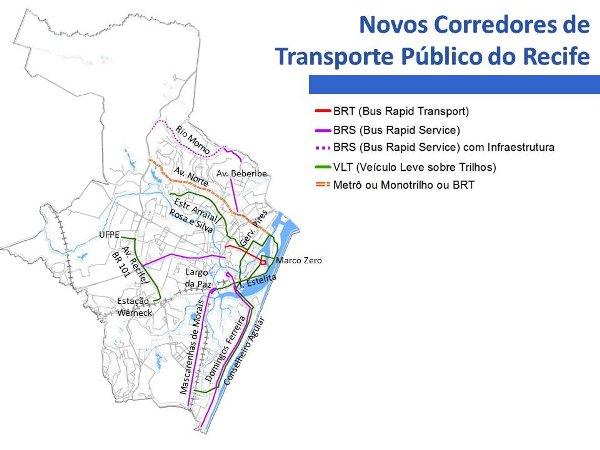 Novos corredores de trasporte público do Recife