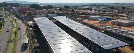 Terminal de BRT em Sorocaba recebe cobertura de painéis solares