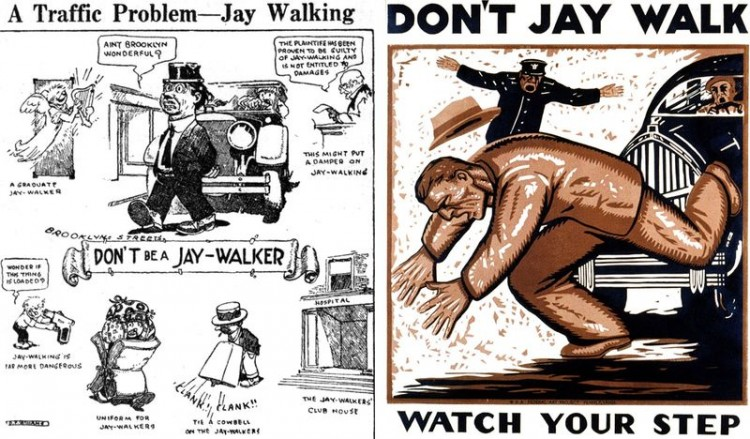 Material da campanha para que pedestres não atravessem fora da faixa