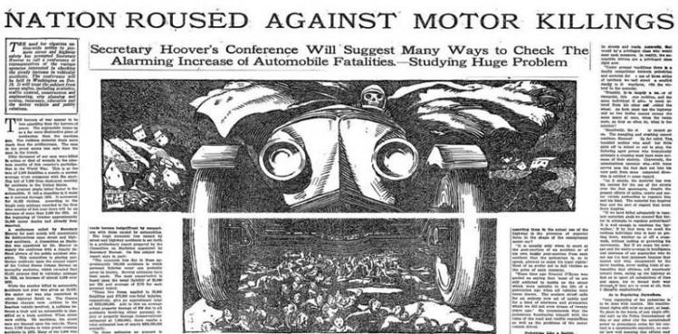 Charge no jornal, carro passando por cima de tudo