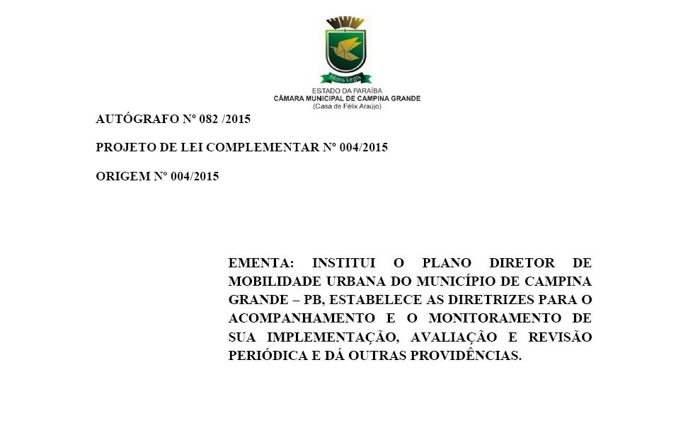 Plano de Mobilidade Urbana de Campina Grande (PB)