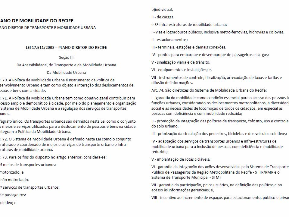 Plano Diretor de Mobilidade do Recife