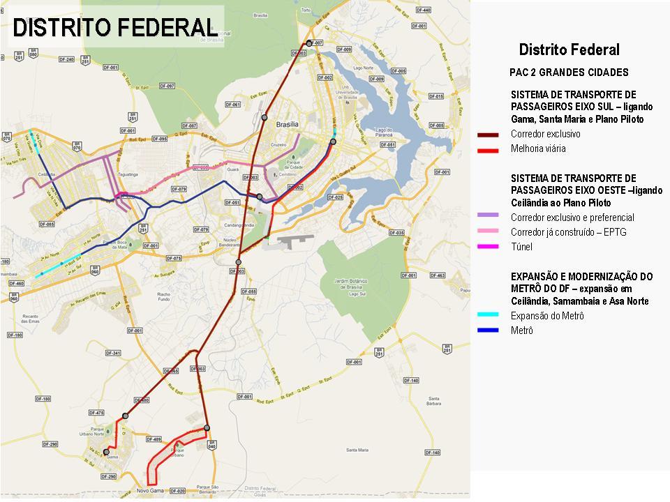Projetos do DF selecionados no PAC Mobilidade
