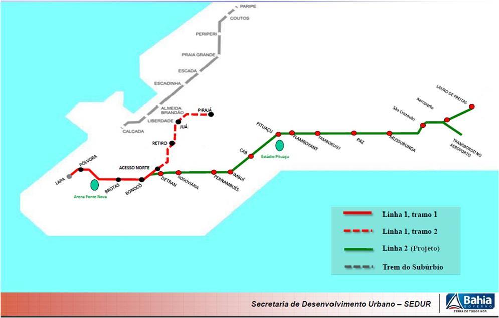 Rede do Metrô de Salvador-BA (2012)